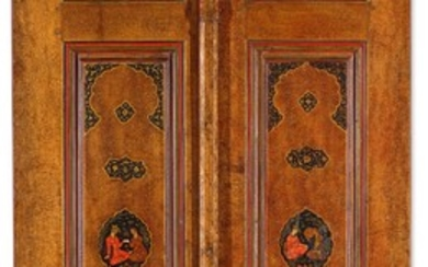 A RARE PAIR OF SAFAVID PAINTED AND GILT LACQUER WOOD DOORS, PERSIA, ISFAHAN, 17TH CENTURY