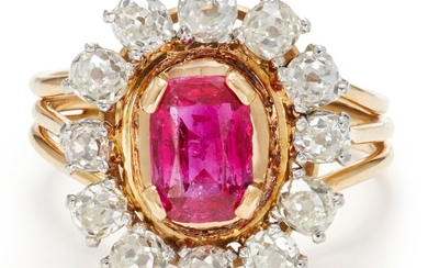 A Ruby, Diamond, Platinum and Gold Ring