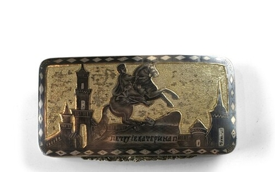 A Russian Parcel Gilt-Silver and Niello Snuff Box - A Russia...