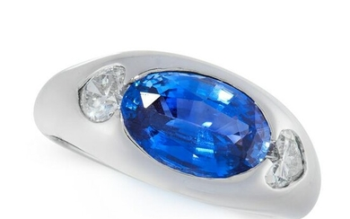 A SAPPHIRE AND DIAMOND DRESS RING in 18ct white gold
