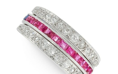 A SAPPHIRE, RUBY AND DIAMOND REVERSIBLE RING the