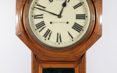 A Seth Thomas Painted Dial Timber Framed Wall Clock (L:81 W:43cm), (With Pendulum)