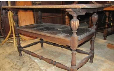 A Victorian carved oak monks bench/table with dowled hinged ...