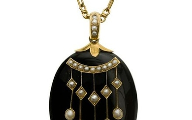 A Victorian onyx and pearl locket pendant