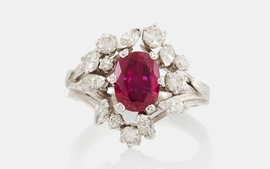 A WA Bolin ring set with a faceted pink sapphire and round brilliant- and navette-cut diamonds