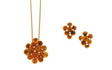 A citrine and diamond pendant necklace and pair of earrings