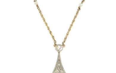 A composite late 19th century gold and platinum natural saltwater pearl and old-cut diamond pendant, with chain.