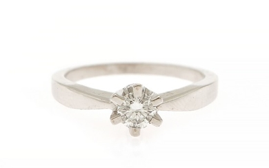 A diamond ring set with a brilliant-cut diamond weighing app. 0.40 ct., mounted in 18k white gold. Size 56.