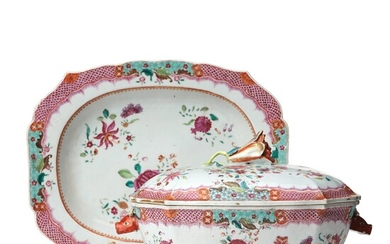 A famille rose tureen with cover and stand, Qingdynasty, Qianlong (1736-95).