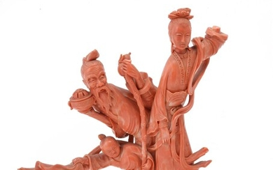 Y A large coral carving allegorical of 'Longevity'
