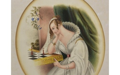 A mid 19th Century watercolour, oval, depicting a lady playi...