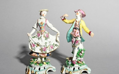 A pair of Bow figures of dancers c.1760-65,...
