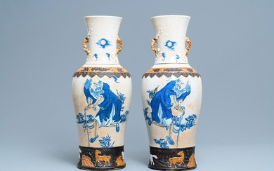 A pair of Chinese Nanking crackle glazed vases with Li Tieguai, 19th C.