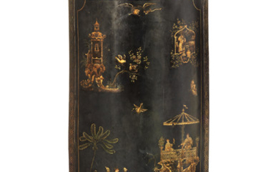 A rare early 19th century bronzed cast-iron and black and gilt Chinoiserie japanned 'tole' firescreen