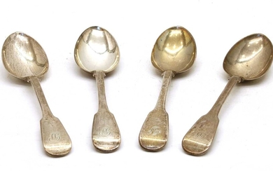 A set of four early Victorian silver dessert spoons