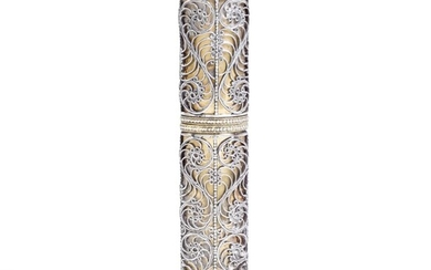 A silver-gilt bodkin case with filigree decoration, possibly late 17th century