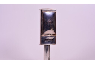 A silver plated travelling candle carriage lamp with vesta b...