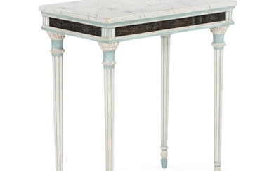 A small painted Gustavian console table with faux Blyberg porphyry frame. Unsigned. Sweden, ca. 1780. H. 75 cm. W. 65 cm. D. 39 cm.