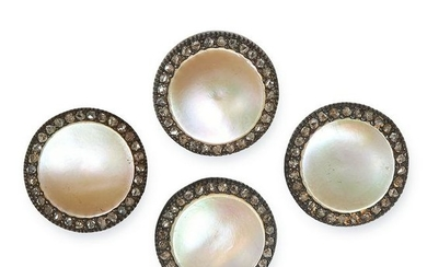 ANTIQUE MOTHER OF PEARL AND DIAMOND BUTTON SET