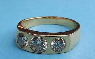An 18ct gold and three stone diamond gypsy set ring, ring si...