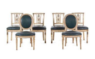 An Assembled Set of Six Louis XV Style Dining Chairs