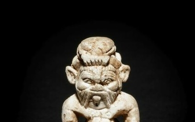 An Egyptian Glazed Steatite Amulet of Bes and Pataikos