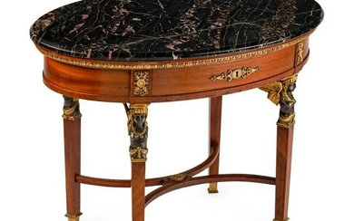 An Empire Style Bronze-Mounted Mahogany Oval Occasional