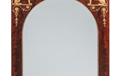 An Empire Style Gilt Metal Mounted Mahogany Mirror
