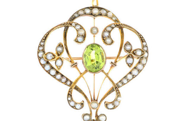 An early 20th century 9ct gold peridot and split pearl openwork floral brooch.