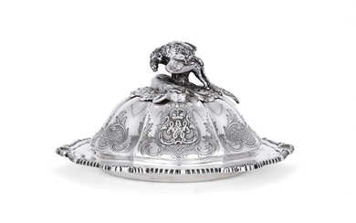 An early Victorian silver hexafoil game serving dish and cover by John Samuel Hunt