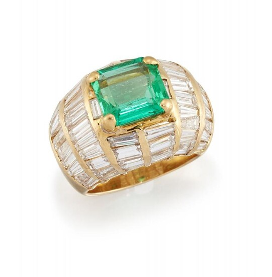 An emerald and diamond ring, the cut-cornered...