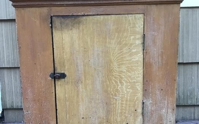 Antique 19th C American Mustard Paint Cupboard