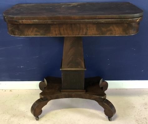 Antique Burled Wood Pedestal Turn Top Table