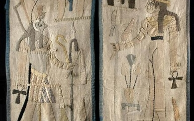 Antique Egyptian Textiles w/ Neith & Ra Horakhty (pr)