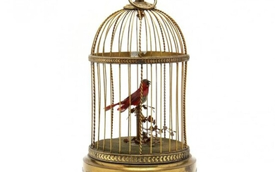 Antique French Automaton, Bird in Cage