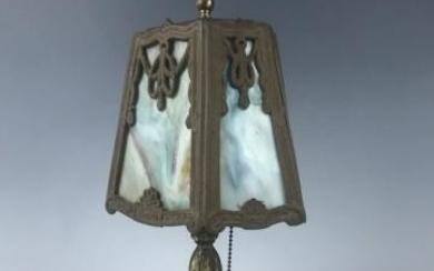 Antique Slag Glass Table Lamp, Pairpoint