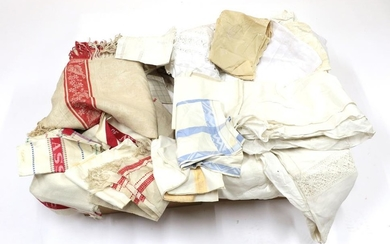 Assorted Textiles, including white cotton and linen table and bed...