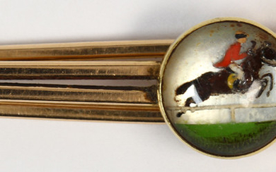 B.A. Ballou & Company reverse rock crystal quartz intaglio and 10k yellow gold horse tie clip