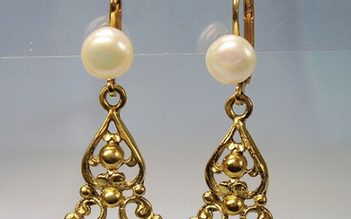 BLAUTOPAS EARINGS ANTIQUE SILVER 935 GOLD PLATED.