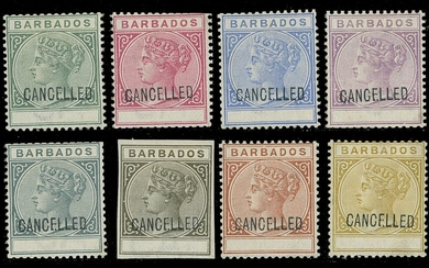 Barbados 1882-86 Keyplate Issue Perforated Colour Trials Eight examples in the colours of the ½...