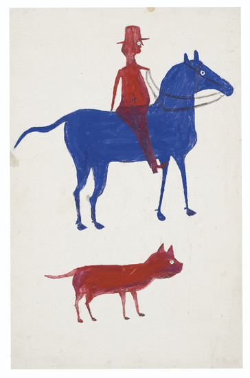 Bill Traylor (circa 1853-1949), Red Man on Blue Horse with Dog, 1939-1942