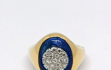 Blue enamel and diamond Ring Circa 1950