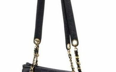 CHANEL BLACK CAVIAR LEATHER SHOPPING TOTE BAG