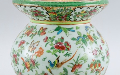 CHINESE EXPORT FAMILLE ROSE-ON-CELADON PORCELAIN SPITTOON Polychrome enamel decoration of flowers, fruit, birds and butterflies. Unm...