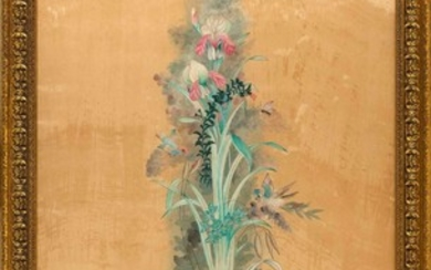 """CHINESE PAINTING ON SILK Depicts birds and flowers. 55.75"""" x 28.5"""" sight. Framed 61.5"""" x 34""""."""