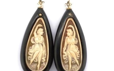 Carved cameo, 9ct yellow gold and coral earrings with ebony ...