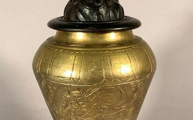 Chinese Brass Vase on Stand