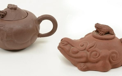 Chinese Clay Figural Teapots. Mythical beast or dragon