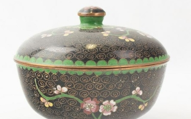 Chinese Export Cloisonne Lidded Round Dish Bowl