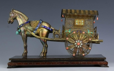 Chinese Gilt Silver Filigree Coral Horse Carriage